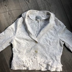 Jackets & Blazers - White Ruffled Eyelet Lace Jacket M
